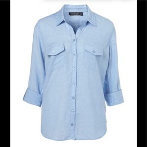 Topshop casual cotton chambray long sleeve top 6